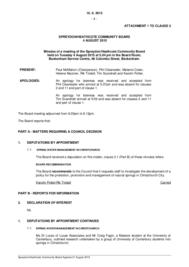 Spreydon/Heathcote Community Board minutes 4 August 2015