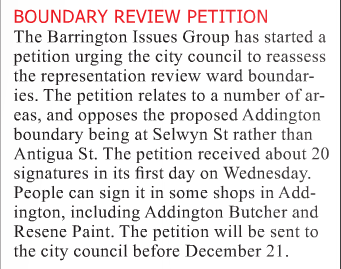 Barrington Issues Group petition news - Southern View, 30 Nov 2015, p.3