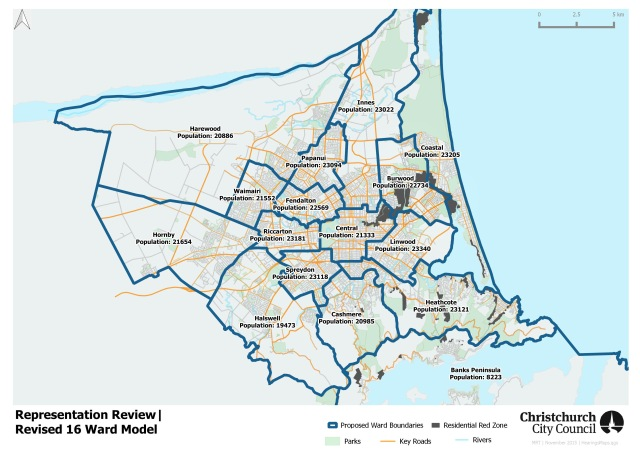 Christchurch City proposed ward boundaries 2016