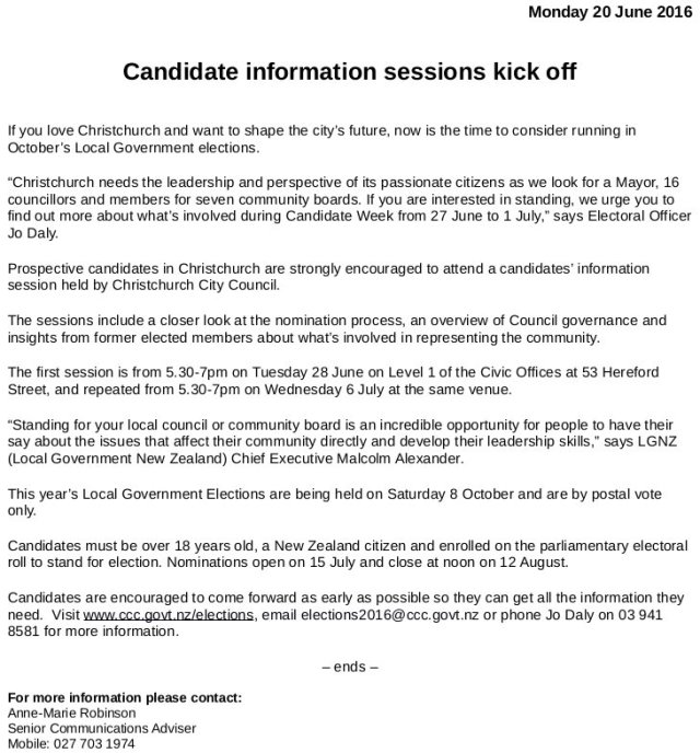 CCC Media Release - Elections 2016 Candidates Information Evening