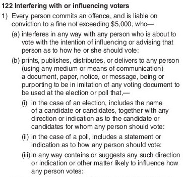ECan candidate handbook, electoral offences, extract p.31