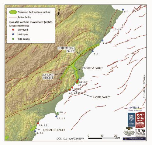 GNS Kaikoura shoreline movement, 14 Nov 2016