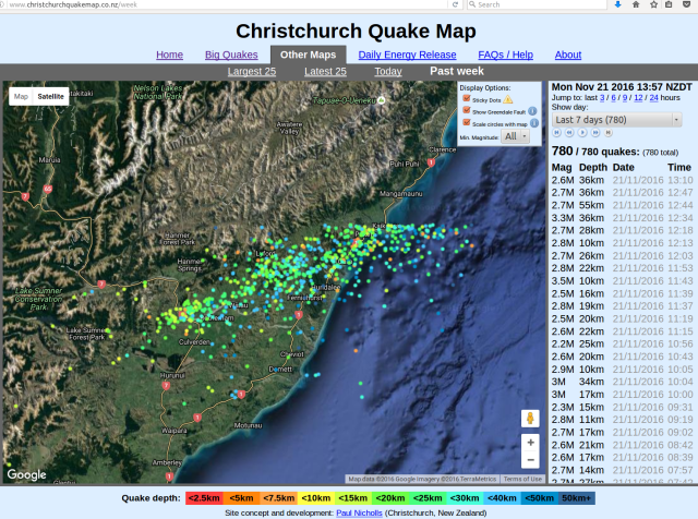 Canterbury aftershocks, 14-21 November 2016